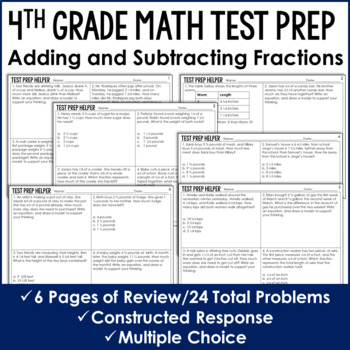 Adding and Subtracting Fractions *Like Denominators* {4th Common Core Test Prep}