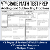 Adding and Subtracting Fractions - 4th Grade Test Prep (No Prep)