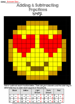 Adding and Subtracting Fractions Love Emoji