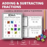 Adding and Subtracting Fractions Math Bingo Review Game
