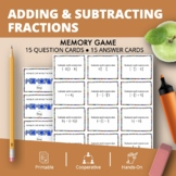 Adding and Subtracting Fractions Math Memory Game