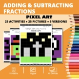 Halloween Math: Adding and Subtracting Fractions Pixel Art
