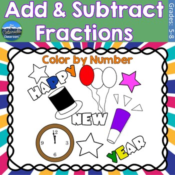 Adding and Subtracting Fractions Math Practice | New Years Color by Number