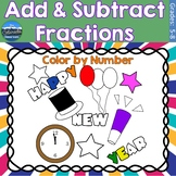 Adding and Subtracting Fractions Math Practice   New Years
