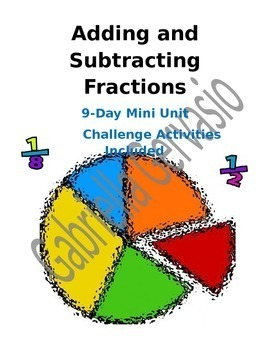 Add and Subtract Fractions Unit
