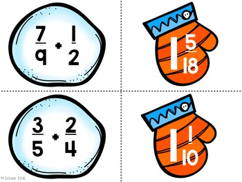 Adding and Subtracting Fractions Mitten Match-Up