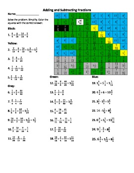 """Adding and Subtracting Fractions/ Mixed Numbers """"Dino"""""""