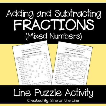 Adding and Subtracting Fractions (Mixed Numbers): Line Puz