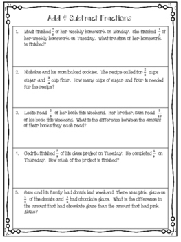 Adding and Subtracting Fractions Practice and Word Problems with Notes