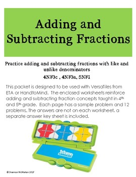 Adding and Subtracting Fractions Packet