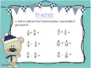 Adding and Subtracting Fractions PowerPoint and Note Taker