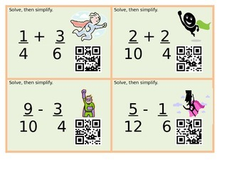 Adding and Subtracting Fractions - QR Codes