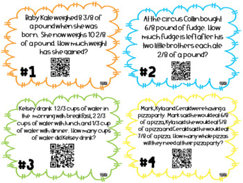 Adding and Subtracting Fractions (4.NF.3) QR Task Cards