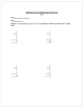 Adding and Subtracting Fractions Quick Quiz