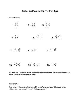 Adding and Subtracting Fractions Quiz