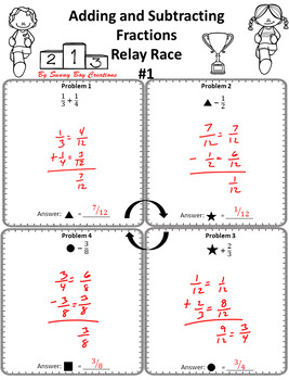 Adding and Subtracting Fractions Relay Race