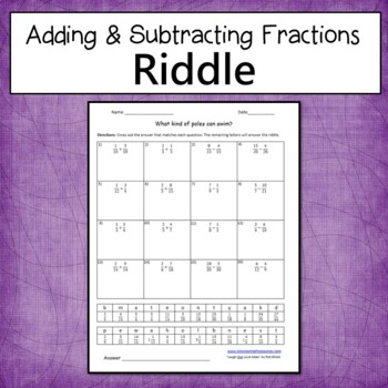 Adding and Subtracting Fractions Riddle