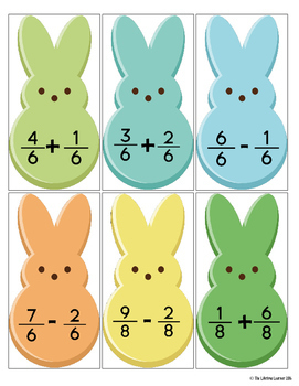 Easter Adding and Subtracting Fractions Same Denominators