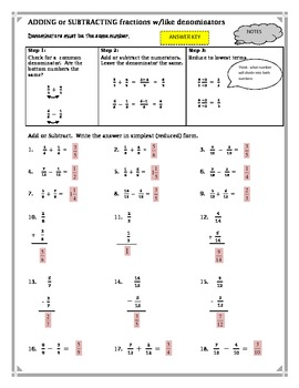 Adding and Subtracting Fractions Same Denominators