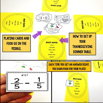Adding and Subtracting Fractions Same Denominators Thanksgiving Game