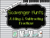 Fractions (Adding and Subtracting) - Scavenger Hunt 10-Pack