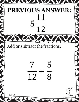 Adding and Subtracting Fractions - Scavenger Hunt (5.NF.A.1)