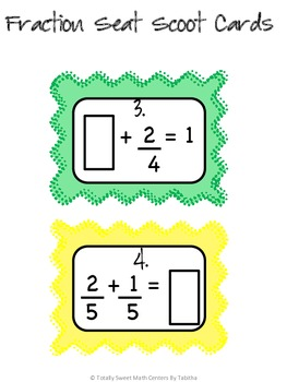 Adding and Subtracting Fractions Seat Scoot Activity 4.NF.3a