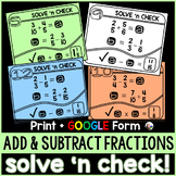 Adding and Subtracting Fractions Solve 'n Check! Tasks - p