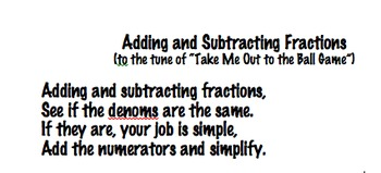Adding and Subtracting Fractions Song