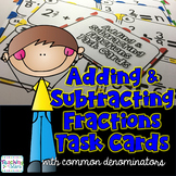 Adding and Subtracting Fractions with like Denominators Task Cards
