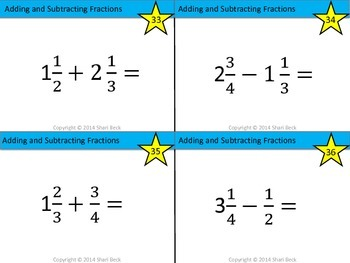 Adding and Subtracting Fractions Task Cards (Addition and Subtraction Fractions)