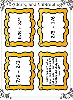 Adding and Subtracting Fractions Task Cards - FREE!