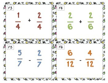 Adding and Subtracting Fractions Task Cards - Set of 28 Common Core Aligned