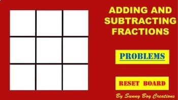 Adding and Subtracting Fractions Tic Tac Toe Powerpoint Game