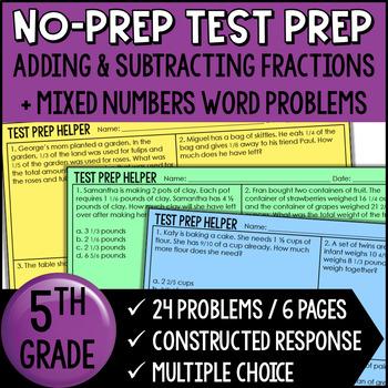 Adding and Subtracting Fractions *Unlike Denominators* {Common Core Test Prep}
