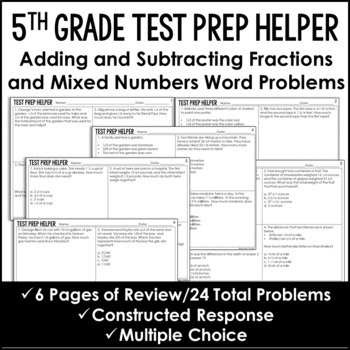 Adding and Subtracting Fractions *Unlike Denominators* {Common Core Test Prep}
