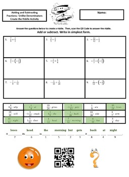 Adding and Subtracting Fractions:  Unlike Denominators Create the Riddle