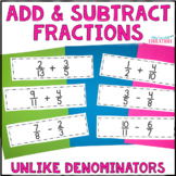 Differentiated Adding & Subtracting Fractions Unlike Denominators Task Cards