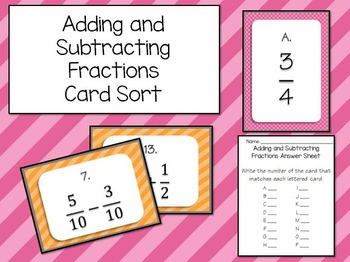 Adding and Subtracting Fractions (Unlike Denominators) Matching Game