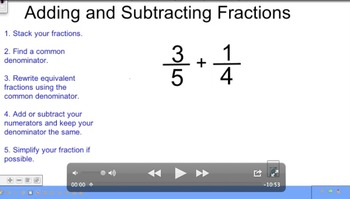 Adding and Subtracting Fractions Unlike Denominators Video