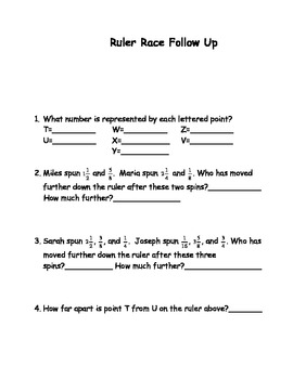 Adding and Subtracting Fractions (Using a Ruler) Groups Work with word problems