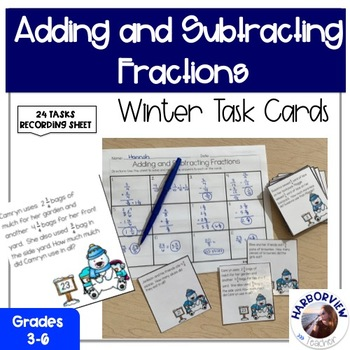 Adding and Subtracting Fractions: Winter Wonderland Task Cards