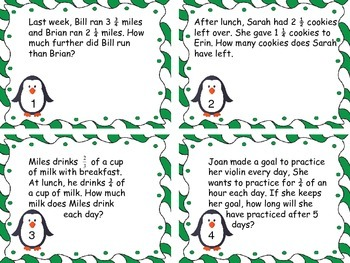 Fraction Winter Word Problem Task Cards