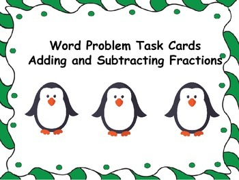 Fraction Winter Word Problem Task Cards