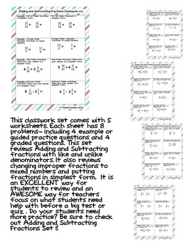Adding and Subtracting Fractions With Like and Unlike Denominators Classwork 2