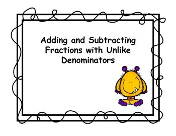 Adding and Subtracting Fractions With Unlike Denominator Task Cards