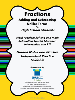 Adding and Subtracting Fractions With Unlike Terms for HS Students