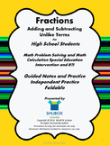 Adding and Subtracting Fractions With Unlike Terms for HS