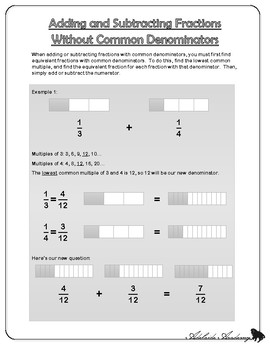 Adding and Subtracting Fractions Without Common Denominators