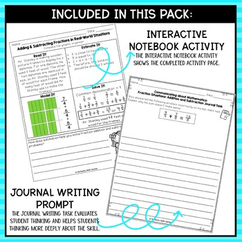 Adding and Subtracting Fractions Word Problems- Math Center Activity Pack